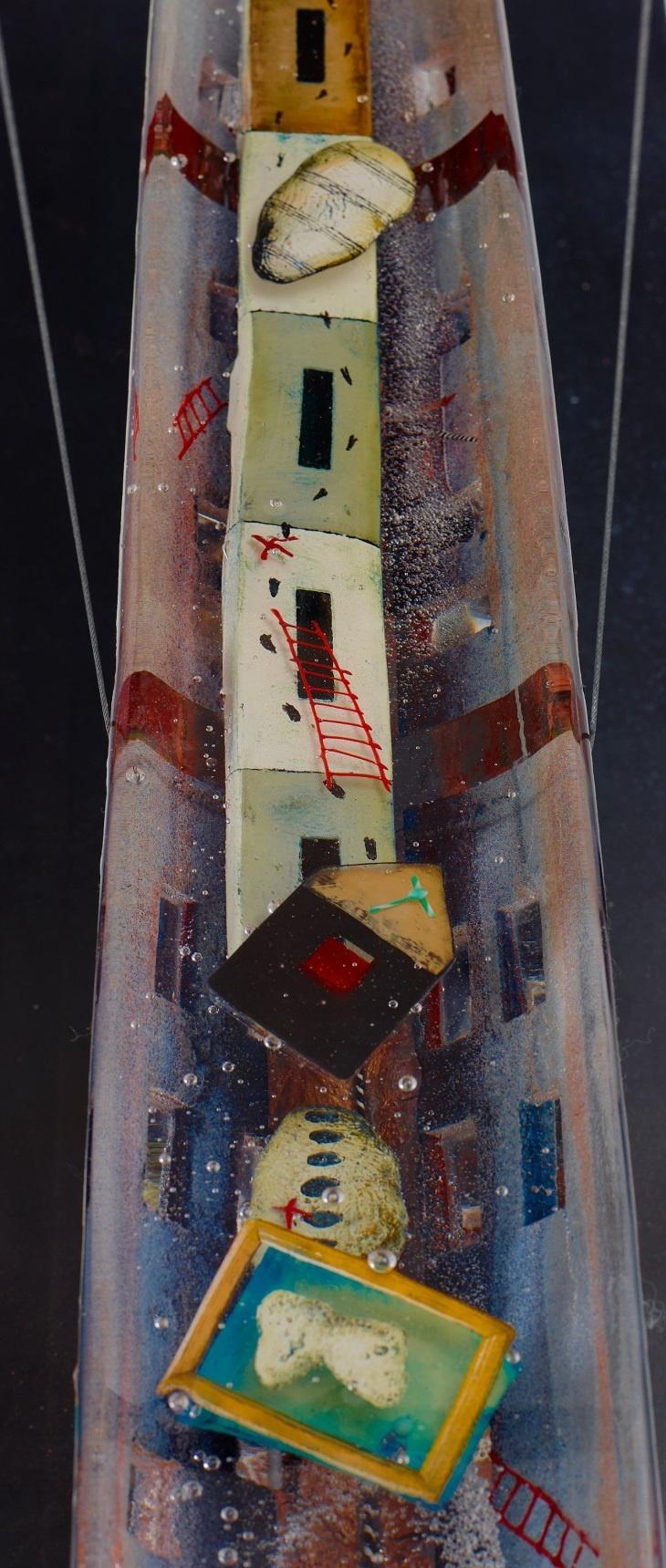 Bertil Vallien (Swedish, 1938), Kosta Boda, Sand Cast Glass Boat with Internal Ornamentation.