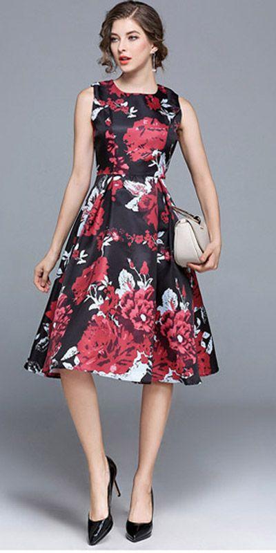 Vestido Godê Midi Floral Vermelho para Festas, Casamentos e Formaturas | UFashionShop