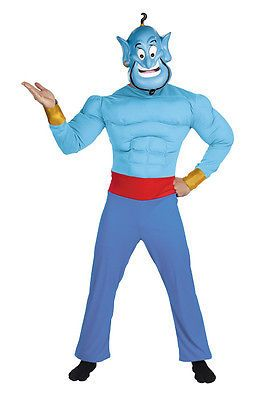 Men Costumes: Brand New Disney Aladdin Genie Muscle Adult Halloween Costume BUY IT NOW ONLY: $40.39