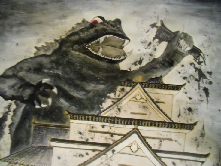 monster destroy Japanese casle