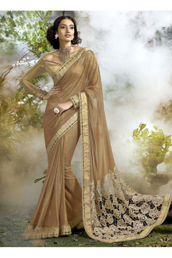 Ethnic Wear Golden Lycra Net Saree  - 16248