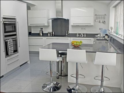 High gloss white kitchen with Grey counter tops