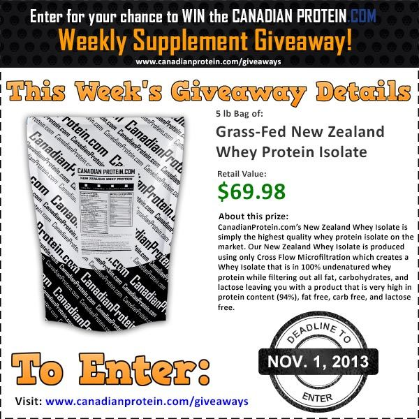 November 1, 2013 Canadian Protein Giveaway: 5 lbs of our all-new, New Zealand Whey Protein Isolate!