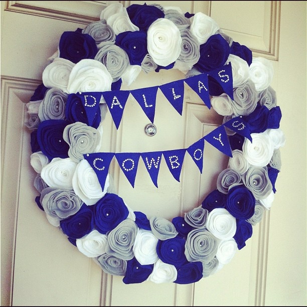 Dallas Cowboys Felt Rosette Wreath with bling I made to kick off Game Day tonight!  By Texas Monkey. TMB can make anything and everything!! =).