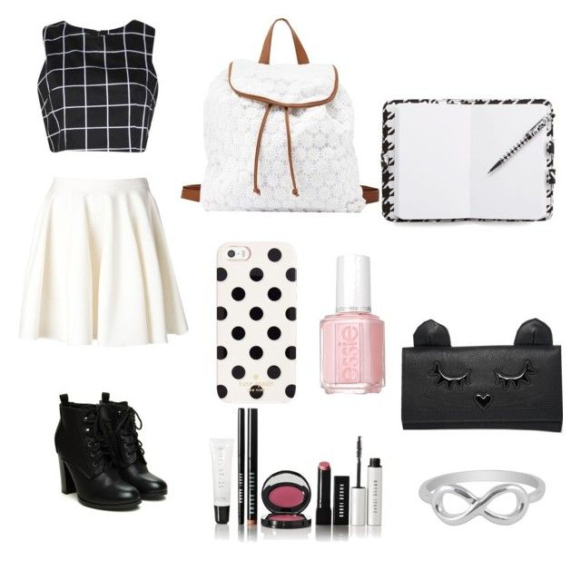 """School #2"" by smartyjones ❤ liked on Polyvore featuring Giambattista Valli, Boohoo, Charlotte Russe, Kate Spade, Bobbi Brown Cosmetics, Essie, Jewel Exclusive, ASOS and Vera Bradley"