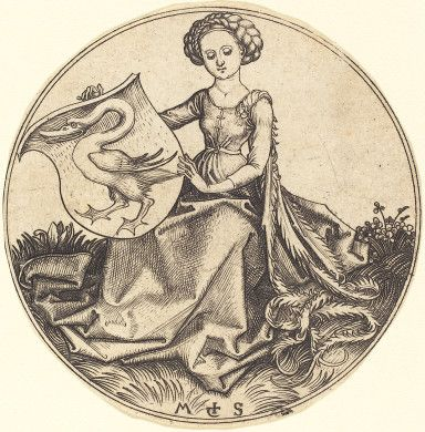 Martin Schongauer  Shield with Swan, Held by Woman, c. 1480/1490  Rosenwald Collection  1943.3.82  Love the one-sleeve idea....