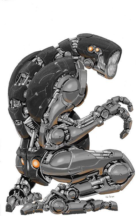 """Robo 01 AxelMedellin. Ou simplesmente """"Totó"""". Esta pequena máquina é carregada no guardião e funciona como um drone inteligente, mapeando áreas perigosas por terra, água ou ar."""