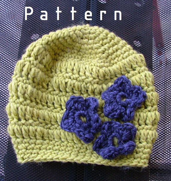 Crochet pattern-for The Apple Green Hat with Crocheted Flower Toddler/Children/Adults/Woman