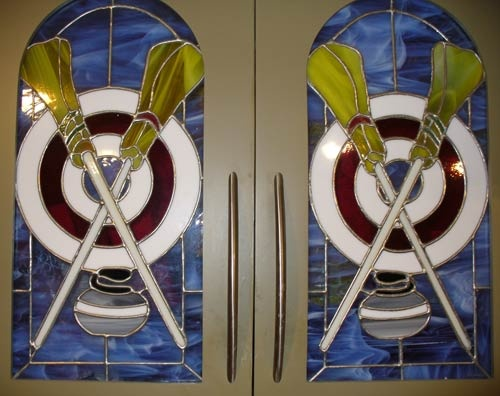 Curling-themed stained-glass window