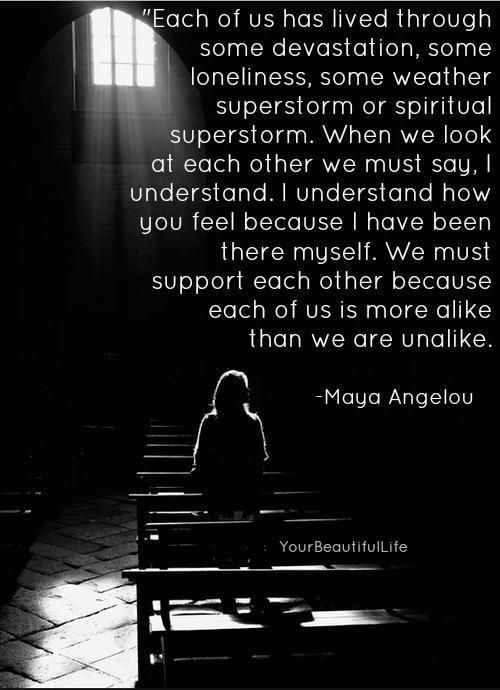 We must support each other because each of us is more alike than we are unalike. ~ Maya Angelou