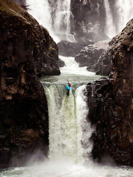 Photo: Kayaker on waterfall