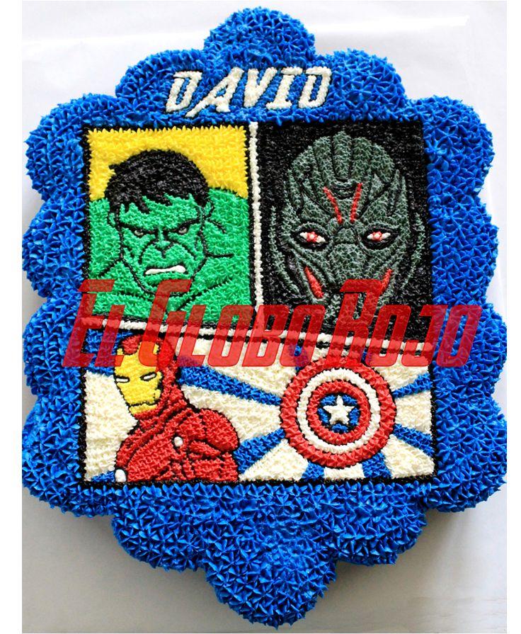 Pastel de cupcakes Avengers age of Ultrón https://www.facebook.com/elgloborojomx