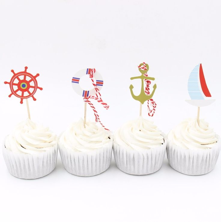 Sailing Party Cupcake Toppers //Price: $13.95 & FREE Shipping //     #cakedecorating