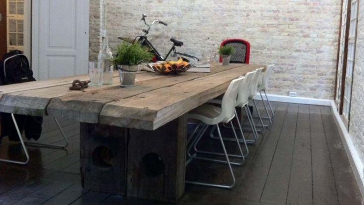 Langborde langbord plankeborde plankebord spiseborde spisebord konferencebord - Table bois massif contemporaine ...