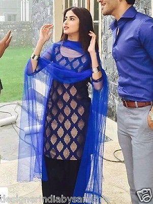 patiala salwar kameez size L indian bollywood designer punjabi suit silk fabric