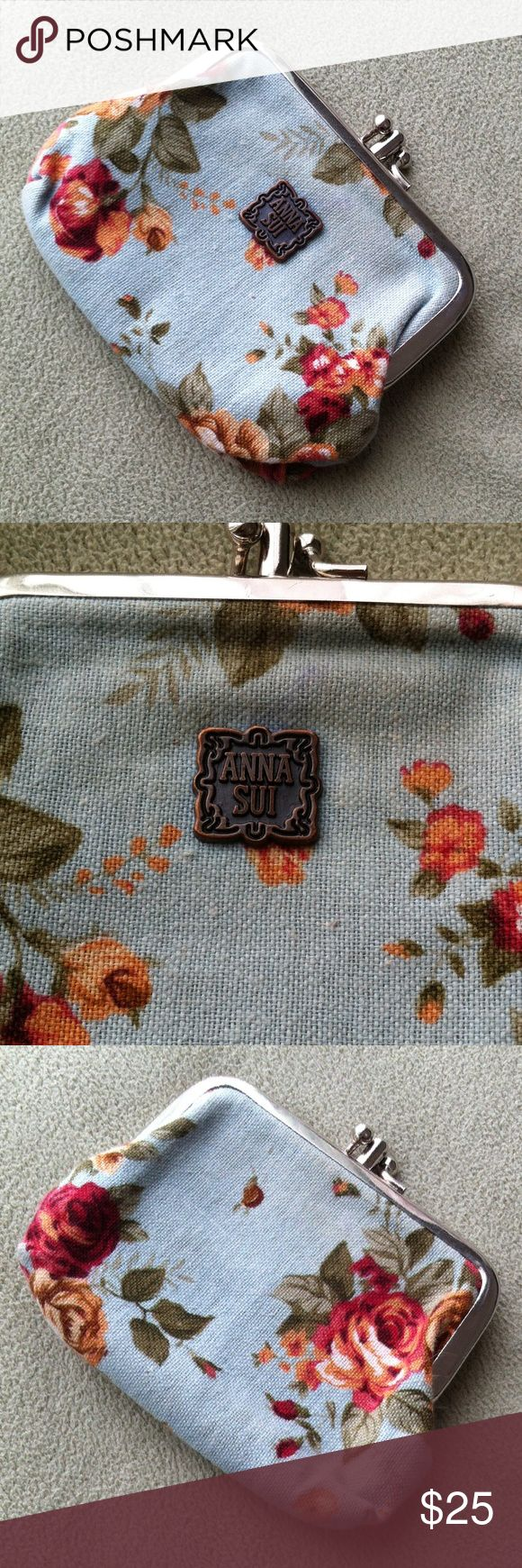 ANTHROPOLOGIE Anna Sui Coin Purse In excellent condition. Metal frame. Floral design. Two compartments with middle divider frame. Very cute! Anthropologie Bags Wallets