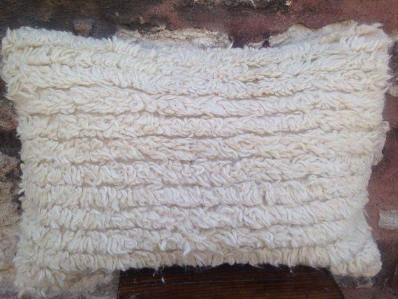 16' x 24' Handmade Karapinar Tulu Kilim Pillow Cover, 50 years old rug pillow, white furry lumbar, feathery cushion, vintage 1960s.