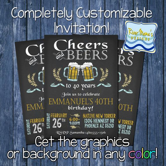 Cheer And Beers Invitaiton Adult Printable Birthday Party Chalkboard DIGITAL Invite