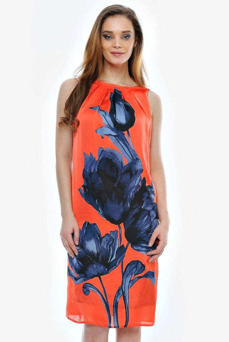 Rochie orange din matase RO32 de la Ama Fashion