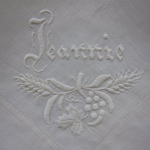 Vintage Handkerchief Ivory with monogram JEANNIE