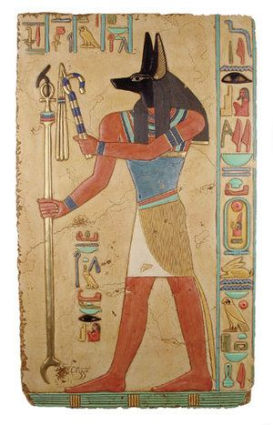 Anubis in Egyptian mythology. I will always think of Anubis(From The Kane Chronicles) as the black hair, brown eyed sixteen year old who looks like Nico di Angelo(From PJO and HoO)