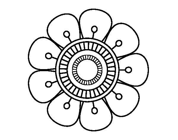 Dibujo de Mandala en forma de flor para Colorear