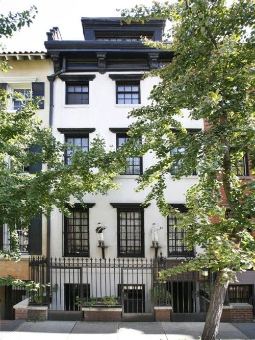 : Dreams Houses, Apartment Style, Black And White, Village Townhouse, Nyc Townhouse, New York, Black Window Trim, White Wall, Brownstone Townhouse