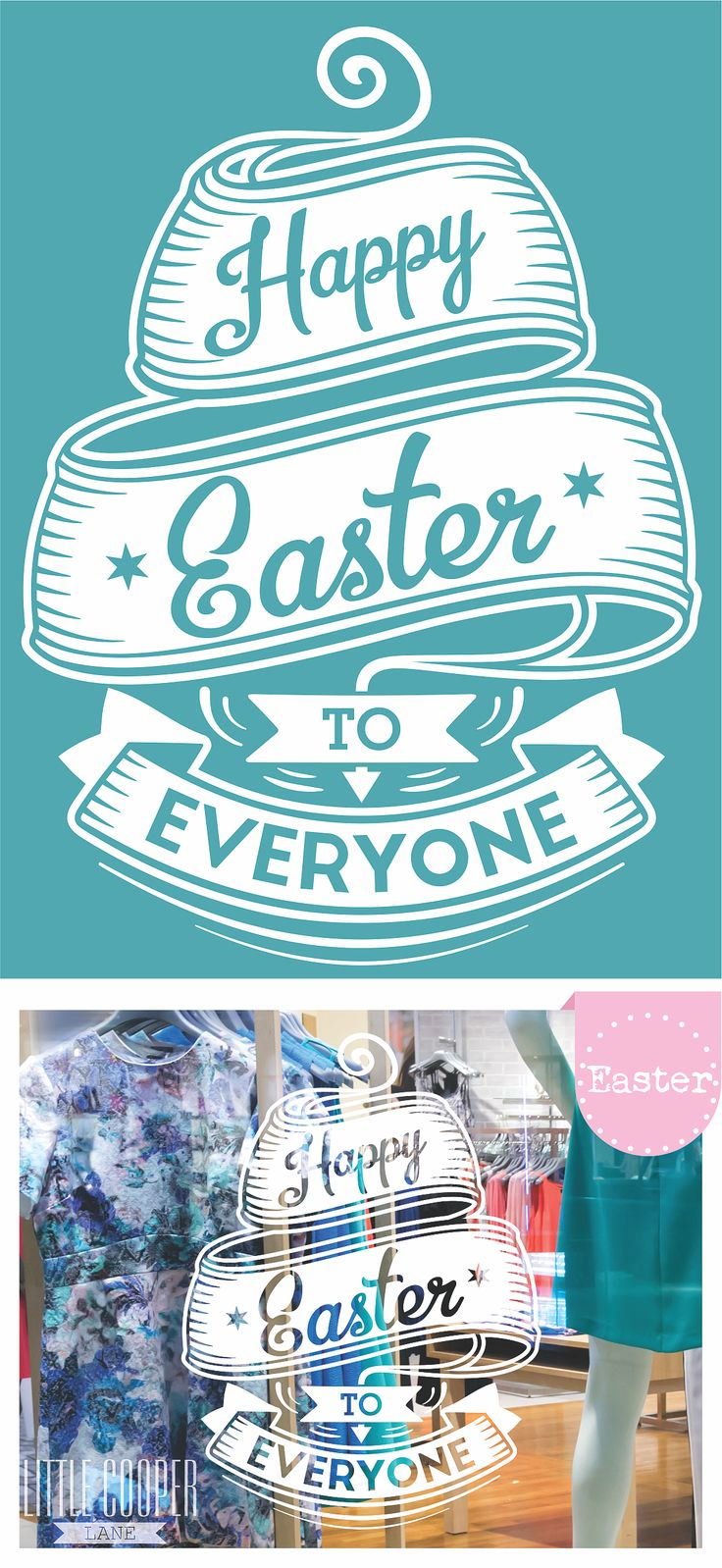 HAPPY EASTER TO EVERYONE Shop Front Window Decal! This Decal is ideal for shop fronts as well as internal walls within your store. Cheap and easy way to spread a bit of Easter love.