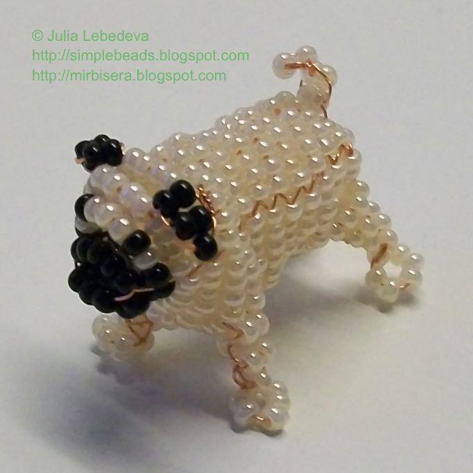 Beaded 3D pug. Free detailed tutorial.