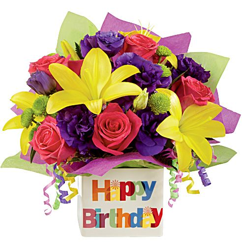 Florist-arranged bouquet of bright, fresh flowers. Delivered in a ceramic Happy Birthday vase <3