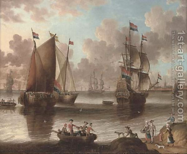 A Dutch warship and fishing vessels in a calm by (after) Abraham Storck