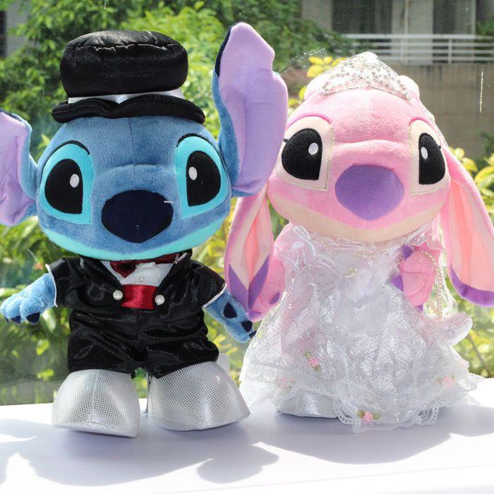 """Pair Plush Disney Lio Stitch & Angel Wedding Marriage Dolls Toys 12.5""""high"""