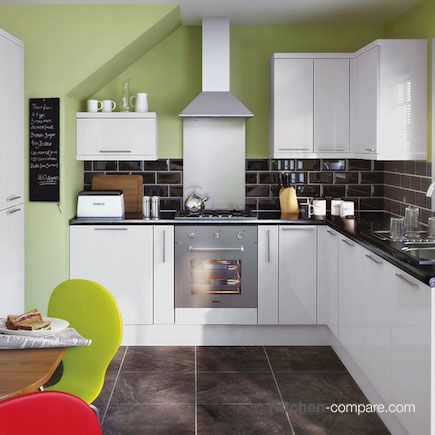 9 best contemporary white gloss kitchens images on for Kitchen ideas homebase