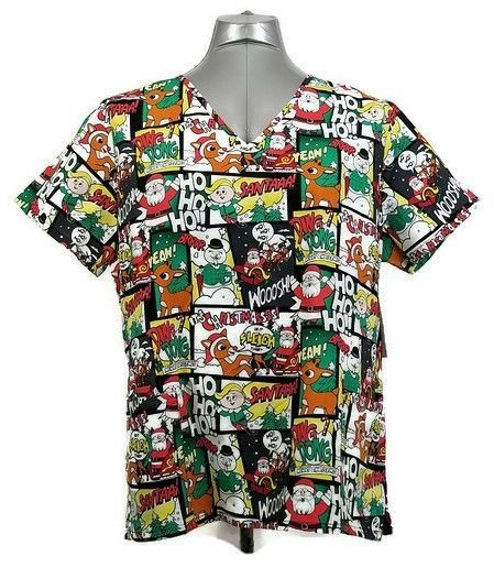 fd200427861 Rudolph Comic Red Nosed Reindeer S XL Medical Scrub Shirt Christmas Top New  #Rudolph