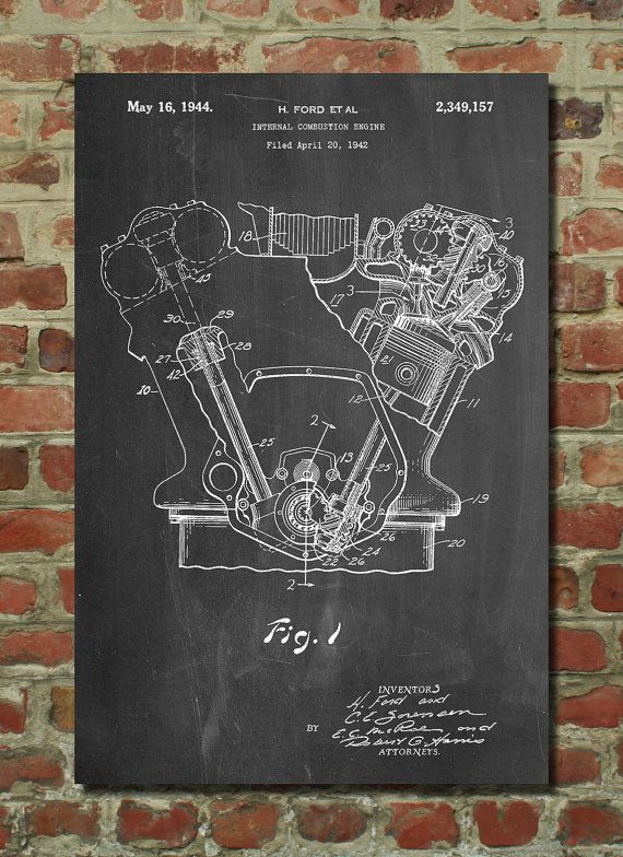 Ford Internal Combustion Engine Poster, Car Part Art, Tank Engine, Ford Motor, Henry Ford