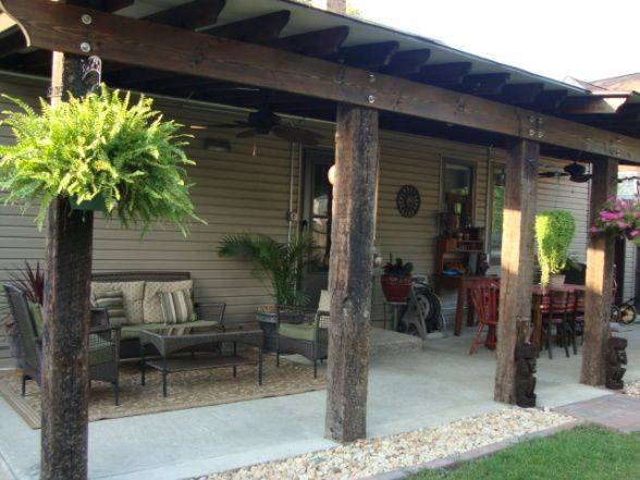 Railroad ties for outdoor pergola...LOVE LOVE LOVE!!!...and use railroad spikes to hang things off of ties like a hammock in between posts, hanging plants, or decorations