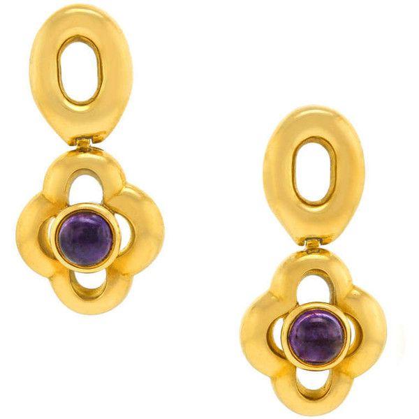 Pre-owned Lalalounis Dangle Earrings featuring polyvore, fashion, jewelry, earrings, drop earrings, cabochon jewelry, polish jewelry, charm earrings, long earrings and 18k earrings