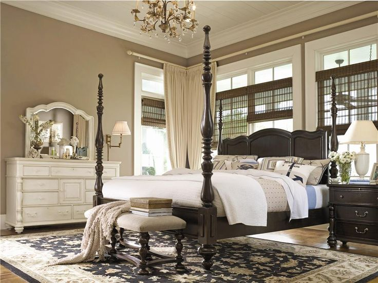 bring provincial elegance to your master suite with this wood bed showcasing a carved scalloped headboard and turned details