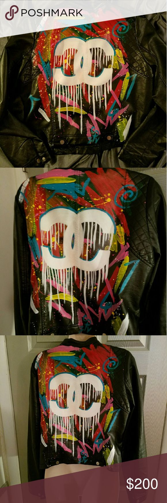 Sale Custom Made Black Biker Jacket *Best Offer* Size: Large Outer Shell-100% Polyurethane Backing-100% Polyester  Lining-100% Polyester  Custom Hand Painted Jacket CC Inspired Made by @creativepressure215 Will take Best Offer!! Jackets & Coats