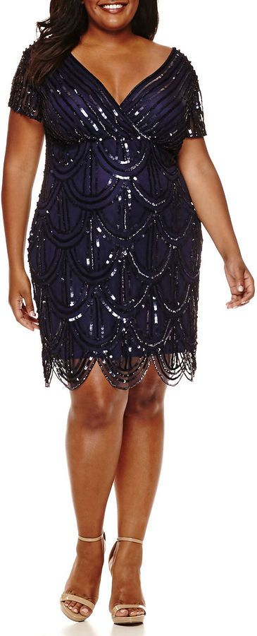 Plus Size Formal | Allover Beaded Sheath Dress (plus size) #plussizefashion #dress