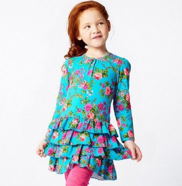 Mim-Pi Stufen Kleid Blumen - blau türkis