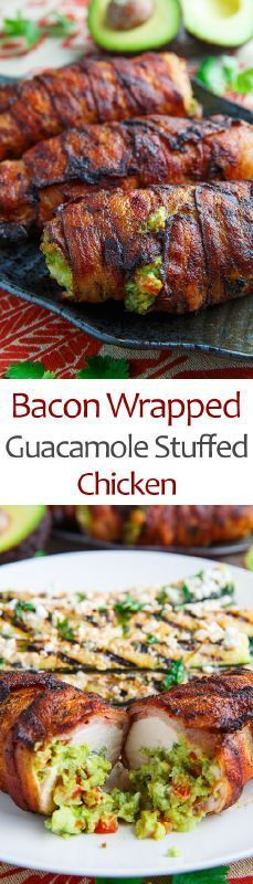 Bacon Wrapped Chicken Breasts Filled With Guacamole: extremely tasty keto snack that's low in carbs and high in nutrition. It doesn't get much better than this!