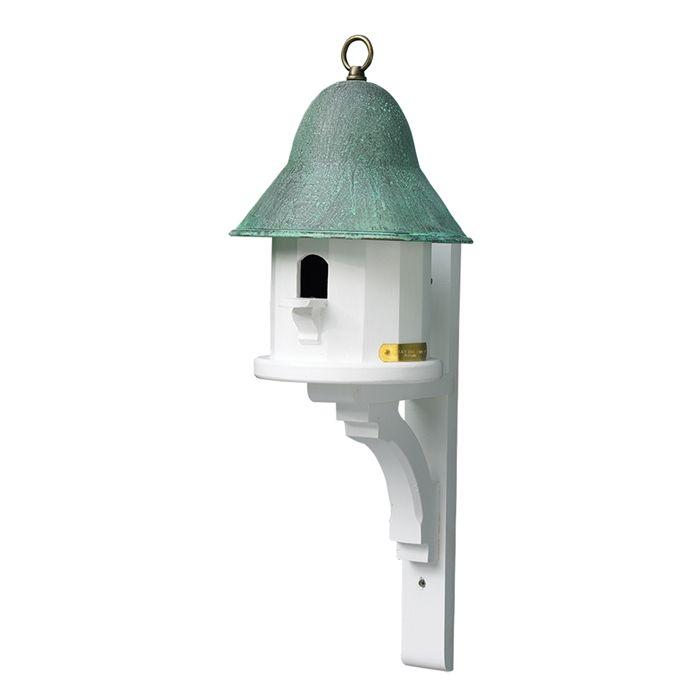 Blue Verde Copper Roof Bird House In White With Optional Post In 2020 Bird House Copper Roof Bird Houses