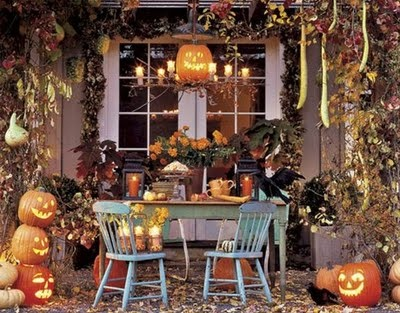 i like the faded turquoise furniture with the fall decorations