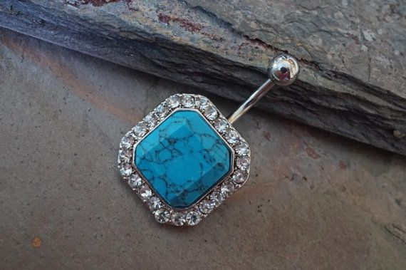 Belly Button Rings Square Turquoise Gemstone by MidnightsMojo