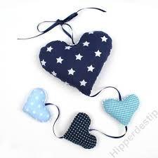 Afbeeldingsresultaat voor slinger hartjes stof blauw