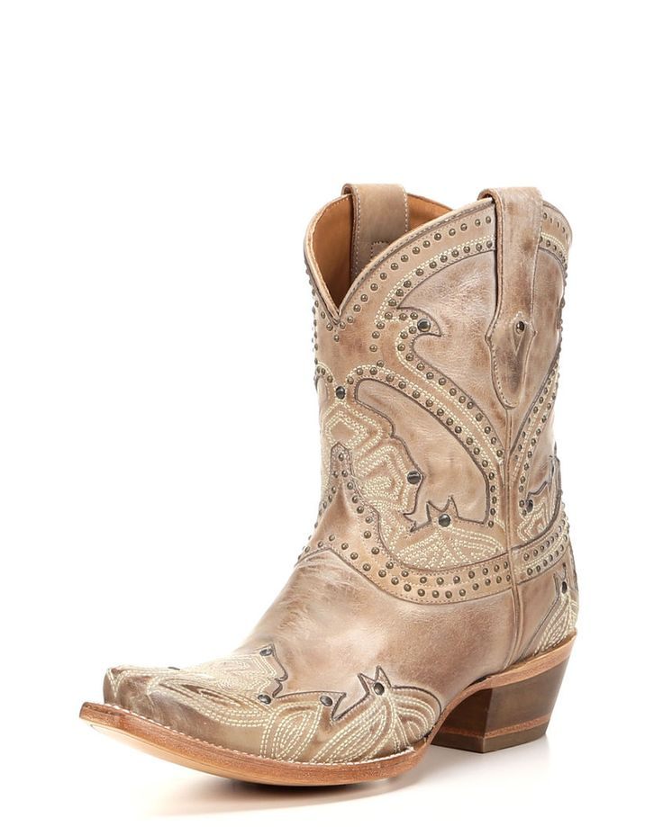 Lucchese | Women's Stitched Petal Shortie Boot - Beige | Country Outfitter