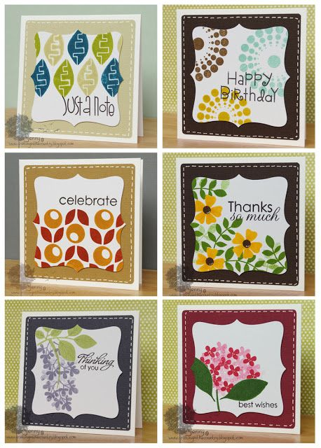 handmade notecard set from Crafting in the Country ... small size ... big, bold and graphic stamping ... background layer color coordinates with the image ... great gift idea ... Paper Smooches  images ...