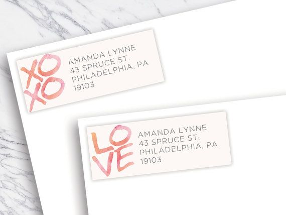 Valentines Day Return Address Labels / Customizable Return Address Labels / Watercolor / XOXO / Love / Printable / Editable Editable PDF File and Word Document File You will be delighted with the ease in which you can customize this template with wording, fonts, or colors to your specific liking and print within minutes. To be used with Avery Address Labels: http://www.avery.com/avery/en_us/Templates-%26-Software/Templates/La...