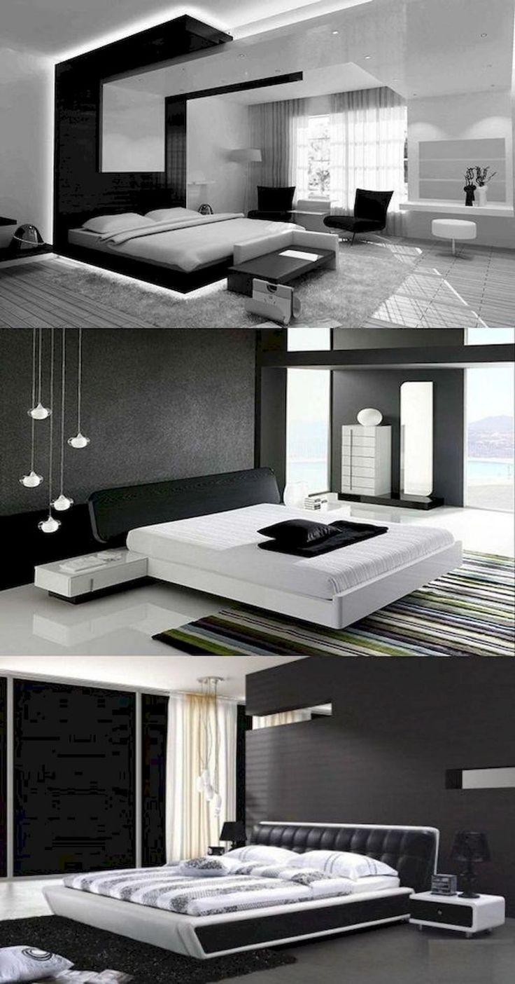 65 Stunning Black And White Modern Bedroom Decor Ideas White Bedroom Design Modern Bedroom Modern Bedroom Design